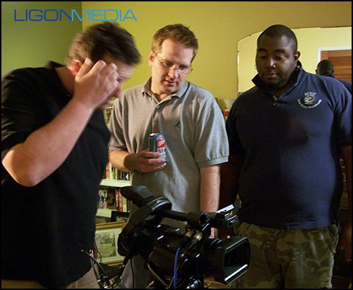 David Ligon with crew on video shoot.